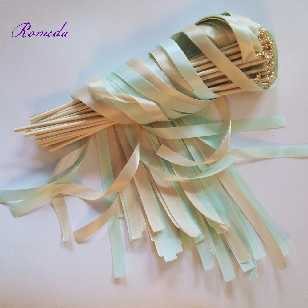 Hot Selling 50pcs/lot Cream and Green wedding  wands Twirling Streamers wedding ribbon stick for wedding decorationHot Selling 50pcs/lot Cream and Green wedding  wands Twirling Streamers wedding ribbon stick for wedding decoration