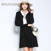 2017 WUJUQIN New Style Preppy Style A Line Solid Full O Neck Dress Suit For Party