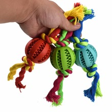 Funny Dog Toys Rubber Ball For Small Dogs Safe Non-toxic With Rope Puppy Cleaning Teeth Bite Toy Pets Supplies