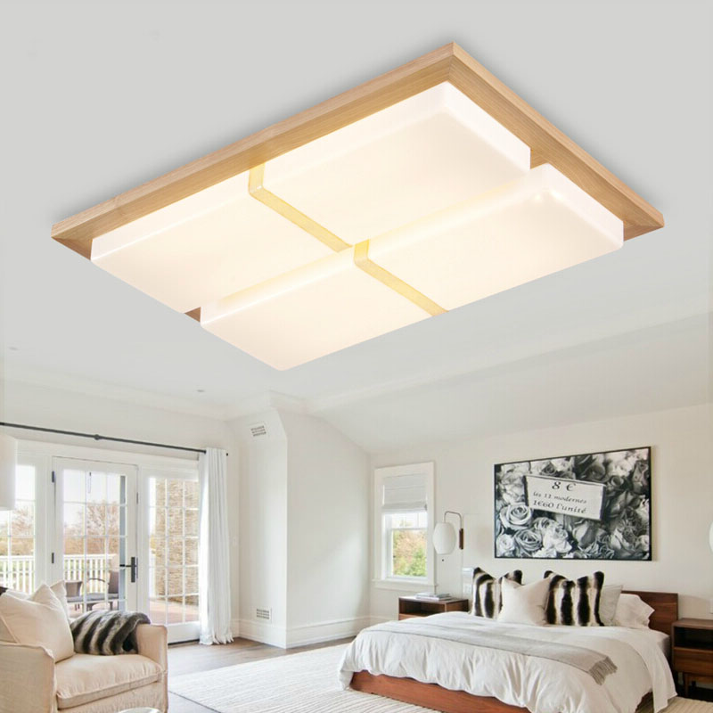 SinFull Modern led Wooden foyer ceiling lights living room bedroom indoor art Acryl led square shade ceiling lamp lighting japanese led ceiling light ac90 265v indoor lighting square 45 55cm solid wood natural bedroom living room lamp foyer lamps