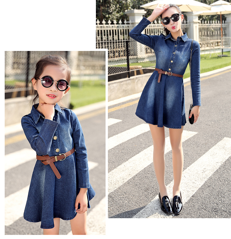 69efff277 Girl Spring Denim Blue Dress for Kids Women Jeans Dresses Tutu Cute  Beautiful Jean with belt Family matching outfits clothing-in Matching  Family Outfits ...