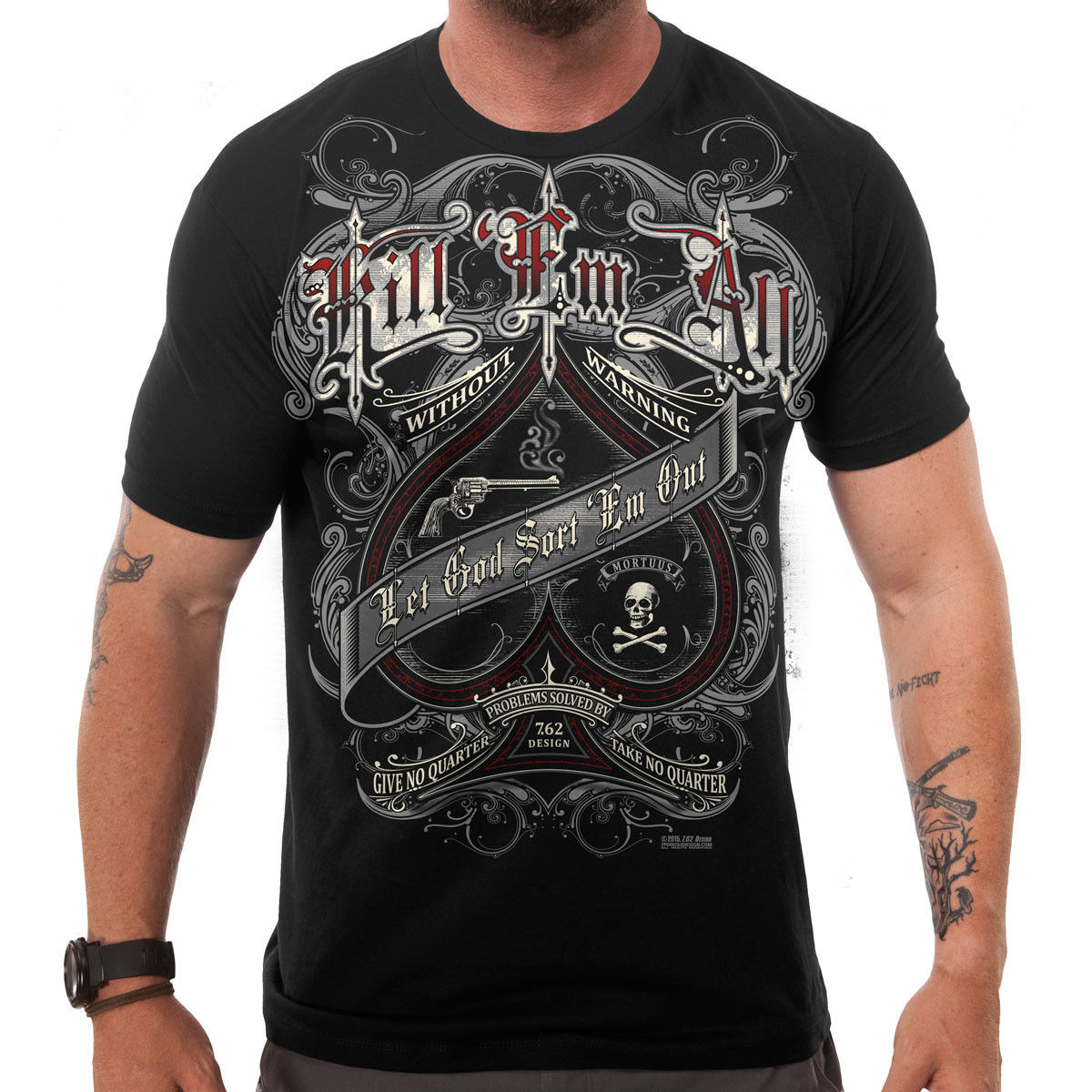 7.62 DESIGNS  KILL EM ALL  T SHIRT LET GOD SORT EM OUT MEN OF ARMS MENS Print Short Sleeve T shirt ...
