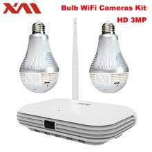XM 2CH 360 Panoramic Light Bulb 3MP WIFI System Wireless NVR 4PCS 5MP Infrared P2P Wireless Internet IP CCTV Security Camera kit
