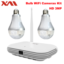 XM 2CH 360 Panoramic Light Bulb 3MP WIFI System Wireless NVR 4PCS 5MP Infrared P2P Wireless Internet IP CCTV Security Camera kit