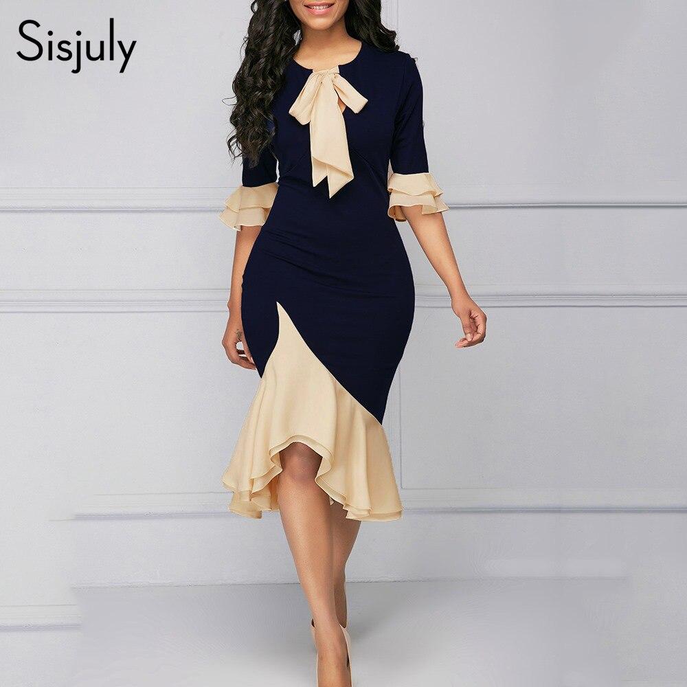 Sisjuly Vintage Elegant Office Lady Women Dresses Mermaid Flare Sleeve Bow Collar Falbala Girls Sexy Female Retro Party Dress