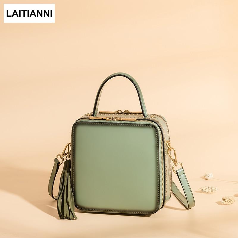 Tassel Flap Women Fashion Bags 2018 Natural Leather Messenger Bags New Arrival Rivet Purses Female Double Zip Lady Crossbody bag
