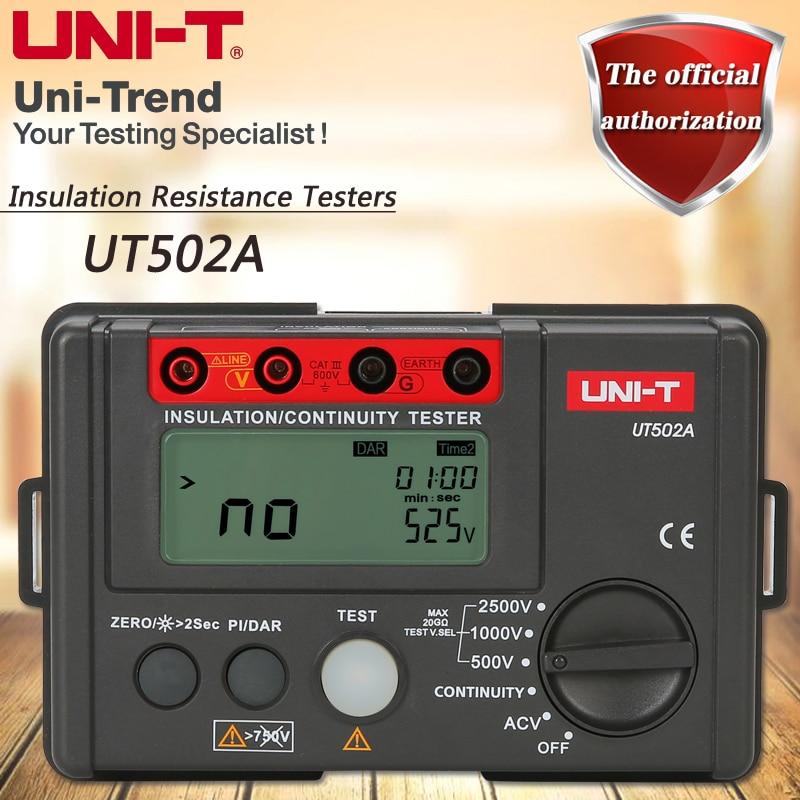 UNI-T UT502A Insulation Resistance Tester 2500V Digital Megohmmeter High Voltage / Overload Indicator LCD Backlight uni t ut501a 2 8 lcd insulation resistance tester red grey 6 x aa