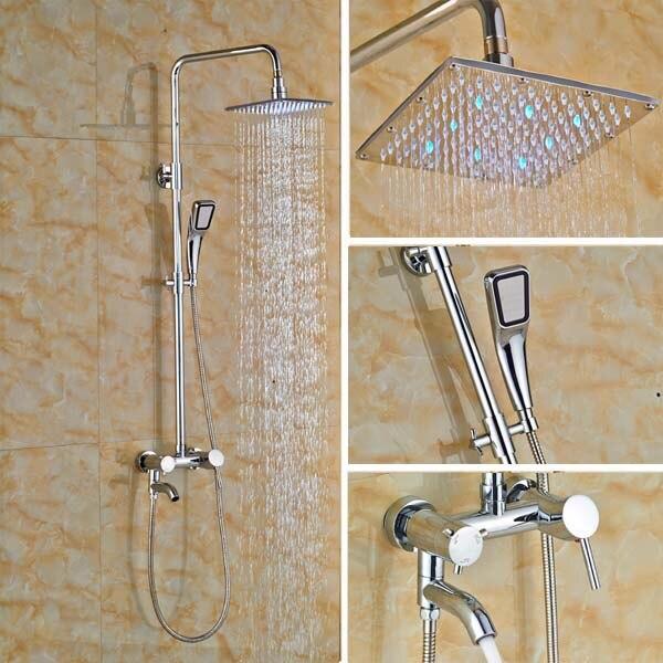 все цены на 8'' LED Bath Shower Faucet Polished Chrome Single Handle Wall Mount Swivel Tub Spout