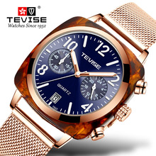 TEVISE Men Watch Fashion Luxury Stainles