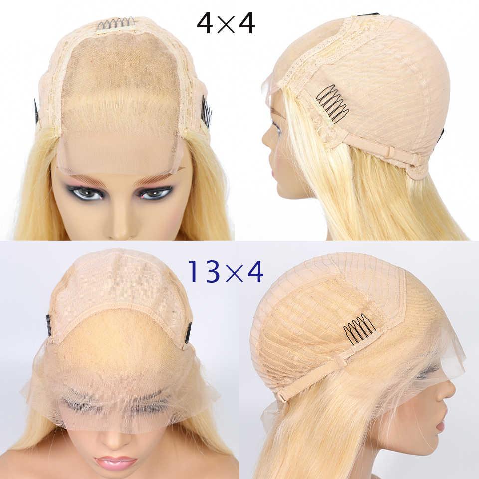 Ариэль 613 блондинка 13x4 Синтетические волосы на кружеве человеческих волос парики предварительно вырезанные малайзийские волосы Remy 613 цветные парики Full короткий боб парик для черных