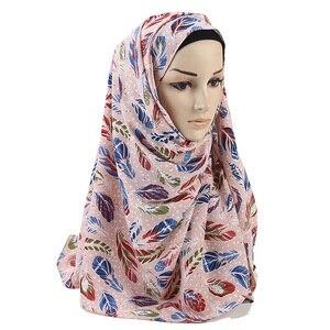 Image 5 - women printed floral scarf bubble chiffon scarves shawls hijab muslim fashion long wrap headband 28 color scarf 180*73cm