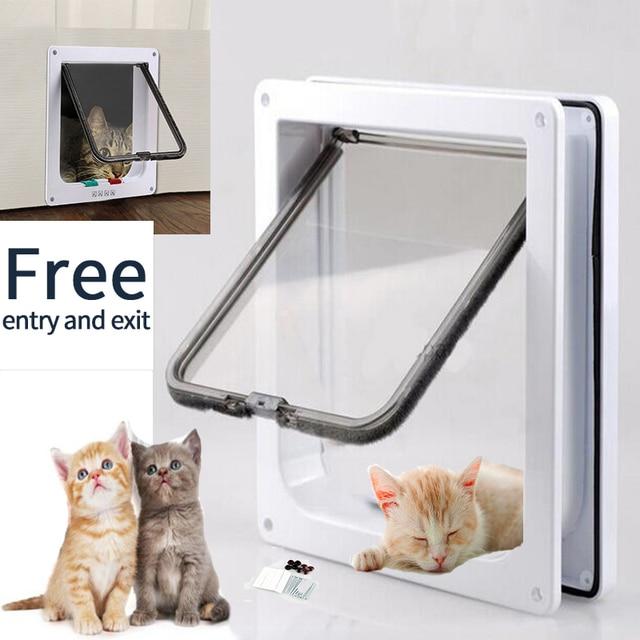 Pet Door 4 Way Lockable Dog Cat Kitten Door Security Flap Door ABS Plastic S/M/L Animal Small Pet Cat Dog Gate Door Pet Supplies 1