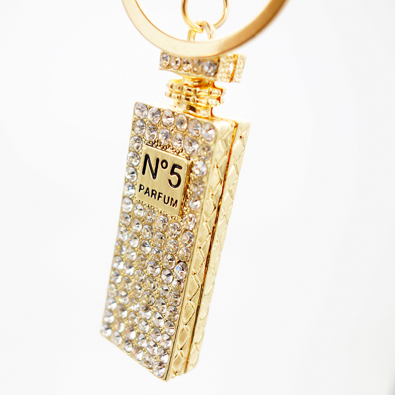 Adojewello Jewelry  Rhinestone Crystal Twinkling Perfume Bottle Keychain  Keyring Gift For Girls Handbag Chram Key Holder