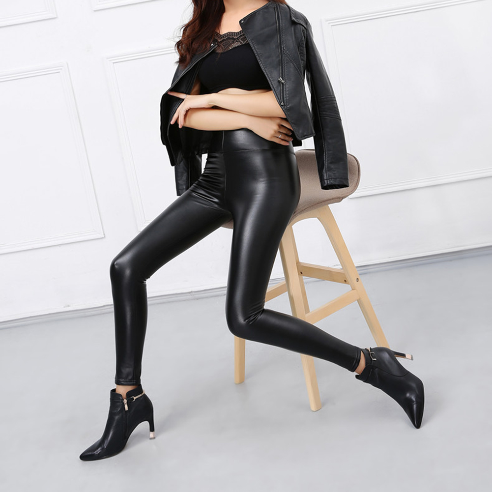Women Skinny Faux Leather Stretchy Pants Tight Trousers Fashion Women Autumn Office Lady High Waist Trousers 1