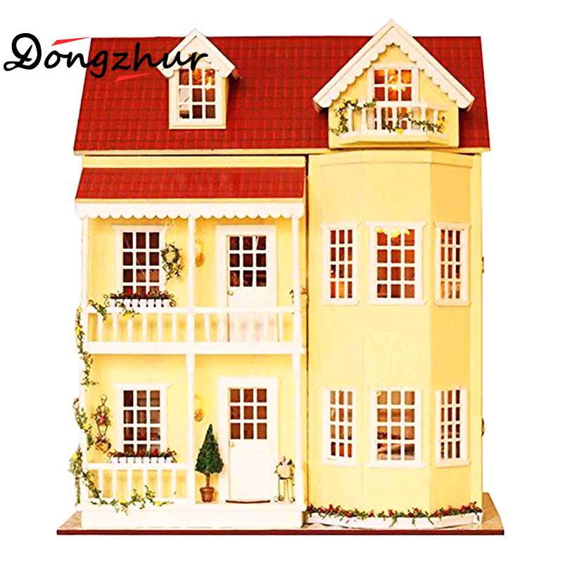 1set Miniature Dollhouse DIY Wooden House Fairy Tale Home Dollhouse Miniatures 1:12 Accessories Stitching Miniatures Doll Hause diy dollhouse
