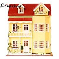 1set Miniature Dollhouse DIY Wooden House Fairy Tale Home Dollhouse Miniatures 1:12 Accessories Stitching Miniatures Doll Hause