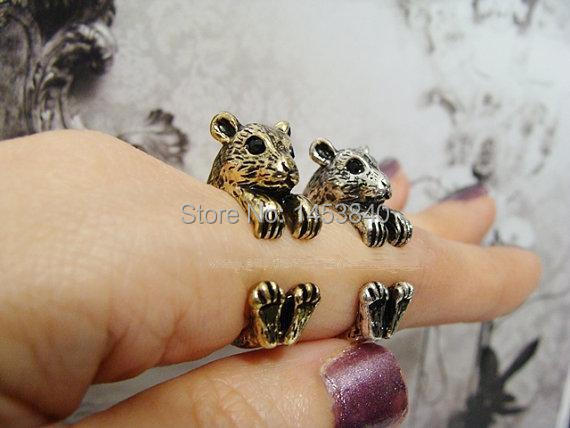 Hamster Ring Women's Retro Burnished Birthday gifts Animal Ring Jewelry Adjustable Free Size Ring Black Crystal (12pcs/lot)
