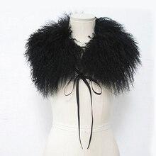 Натуральная монгольская овчина меховой воротник шарф для куртки пальто пляжная шерсть с лямками сплошной черный белый женский воротник из натурального меха зима