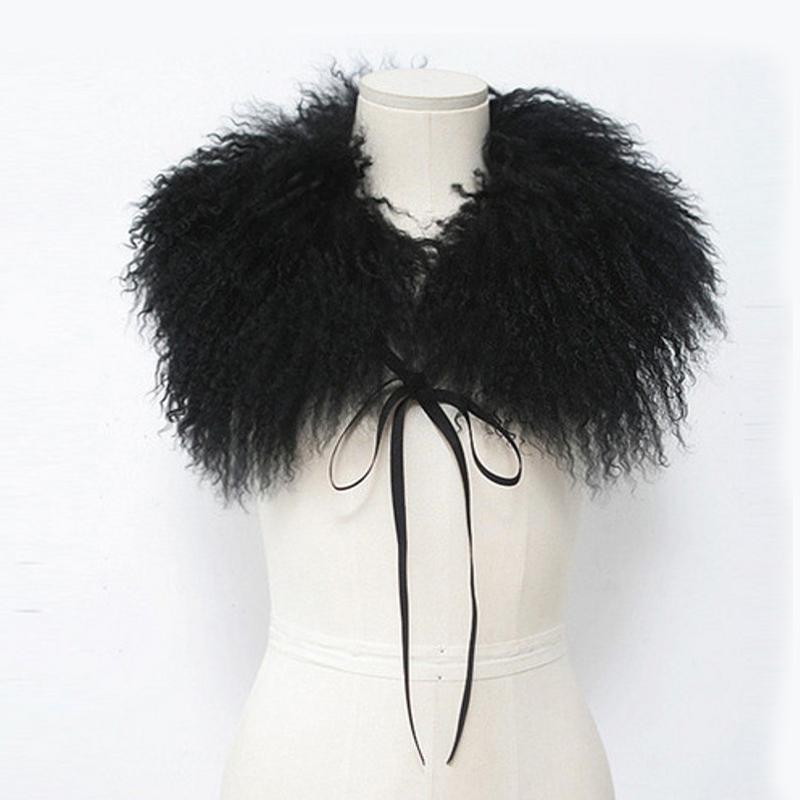 Real Mongolia Sheep Fur Collar Scarf til Jacket Coat Beach Uld med stropper Solid Black White Women Original Fur Collar Winter