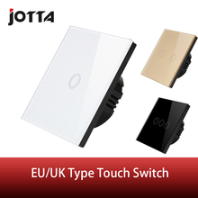 EU Stanard Touch Switch White/Black Crystal Glass Panel 1 Gang 1 Way Touch Switch, Light Wall Touch Screen Switch,AC 170-240V цена и фото