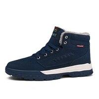 2017 Winter Mens Snow Boots Trekking Shoes Black Blue Warm Outdoor Men Walking Sneakers Brand High