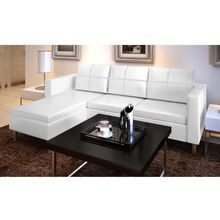 vidaXL 3-Seater L-shaped Artificial Leather Sectional Sofa White