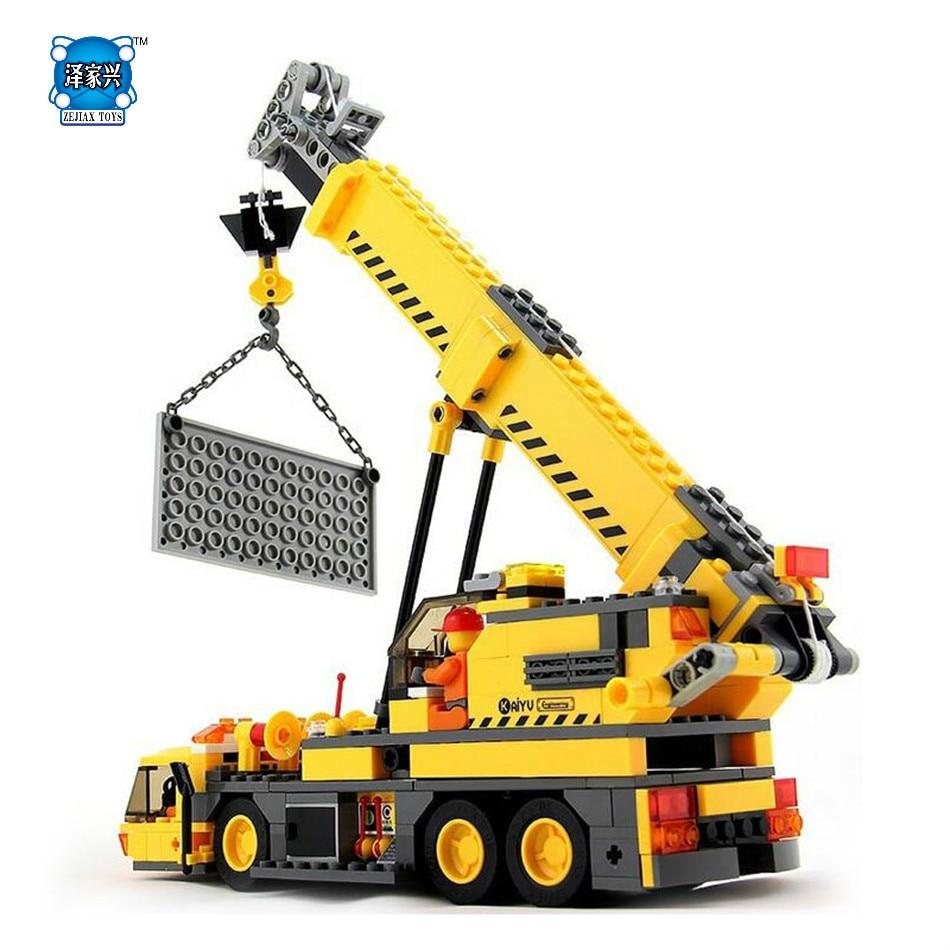 KAZI 380pcs Engineering Playmobil Model Construction Vehicle Bricks Educational Children Toys Building Blocks Compatible Lepins