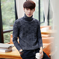Basic style casual solid color turtleneck coarse wool pullover men kintted sweaters pull homme men's clothing size m-5xl TTS15-5