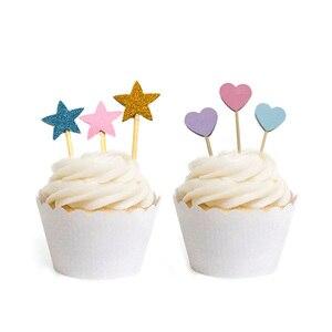 20 шт ручной работы милый Блестящий Сердце Звезда кекс топперы для дня рождения свадьбы украшения торта украшения еды