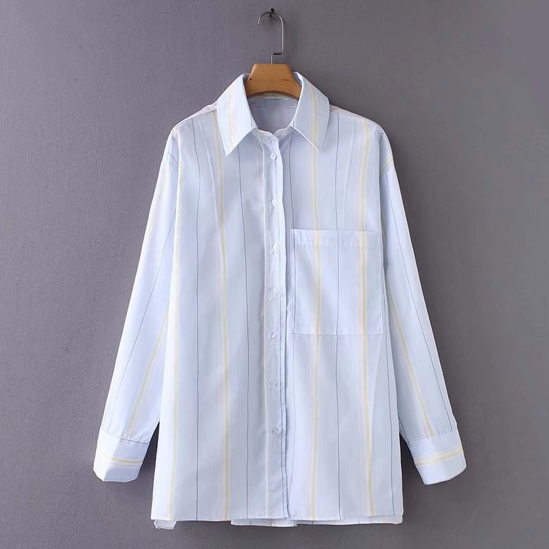 2018 spring new loose striped long sleeve casual shirt