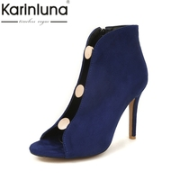 Karinluna 2018 Plus Size 32 46 Top Quality High Heel Sandals Zip Up Gladiator Sandals Shoes