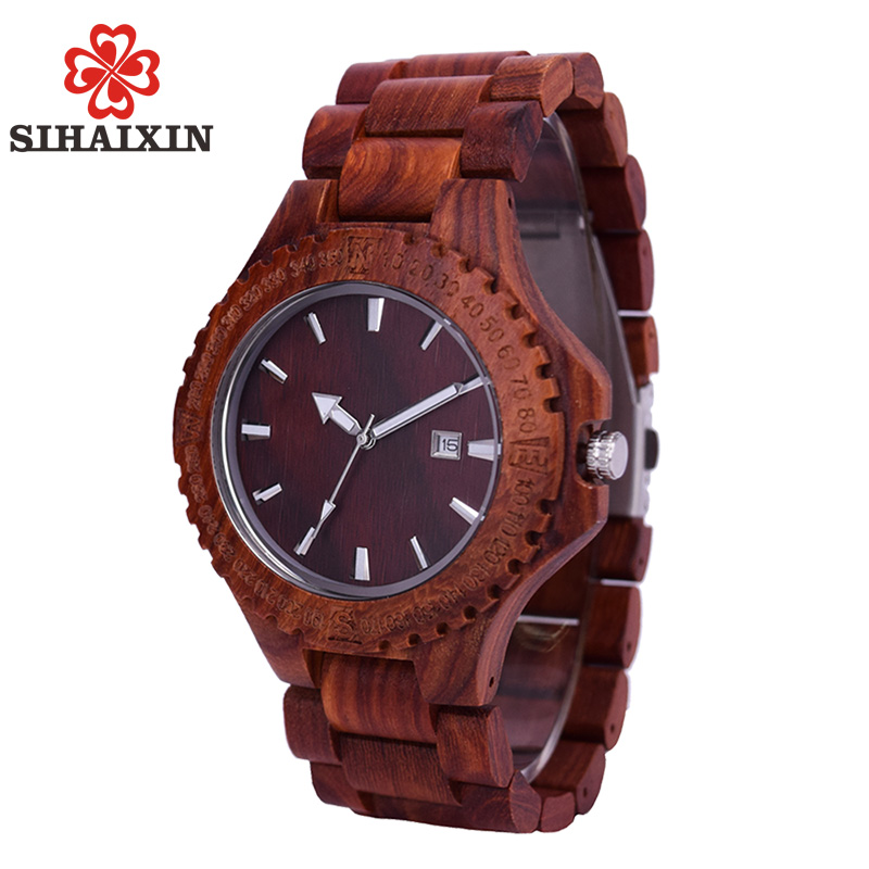 for men band shop sandalwood bewell time watch with red watches wooden square