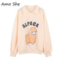 Amo She Alpaca Print Turn Down Collar Fleece Hoodies Women Autumn Winter Sweatshirts Pink Sweet Button