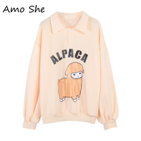 Amo She Alpaca Print Turn Down Collar Fleece Hoodies Women Autumn Winter Sweatshirts Pink Sweet Button