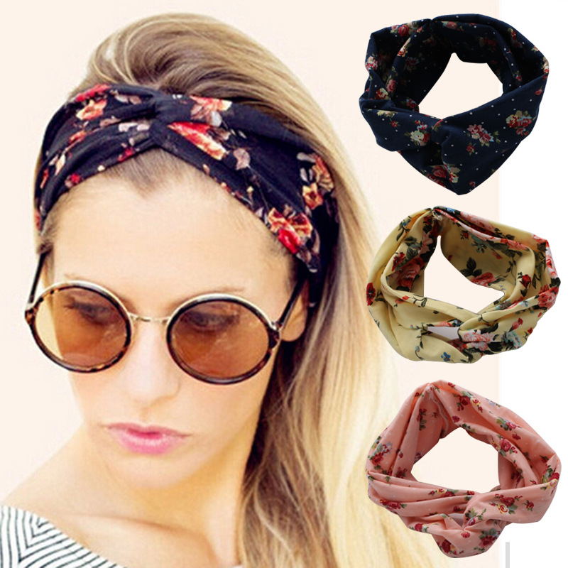 Flower Headband Fashion Retro Women Elastic Turban Twisted Knotted Ethnic Headband Floral Wide Stretch Girls Hair Accessories