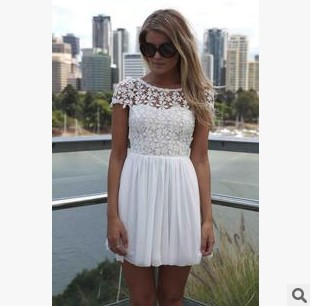 women dress 2015 New fashion Crochet Lace stitching Embroidery Halter Dress Free Shipping