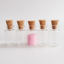 100pcs/lot 1ml wish glass bottle 13*24*6mm diameter 13mm Clear with cork small Essential oil