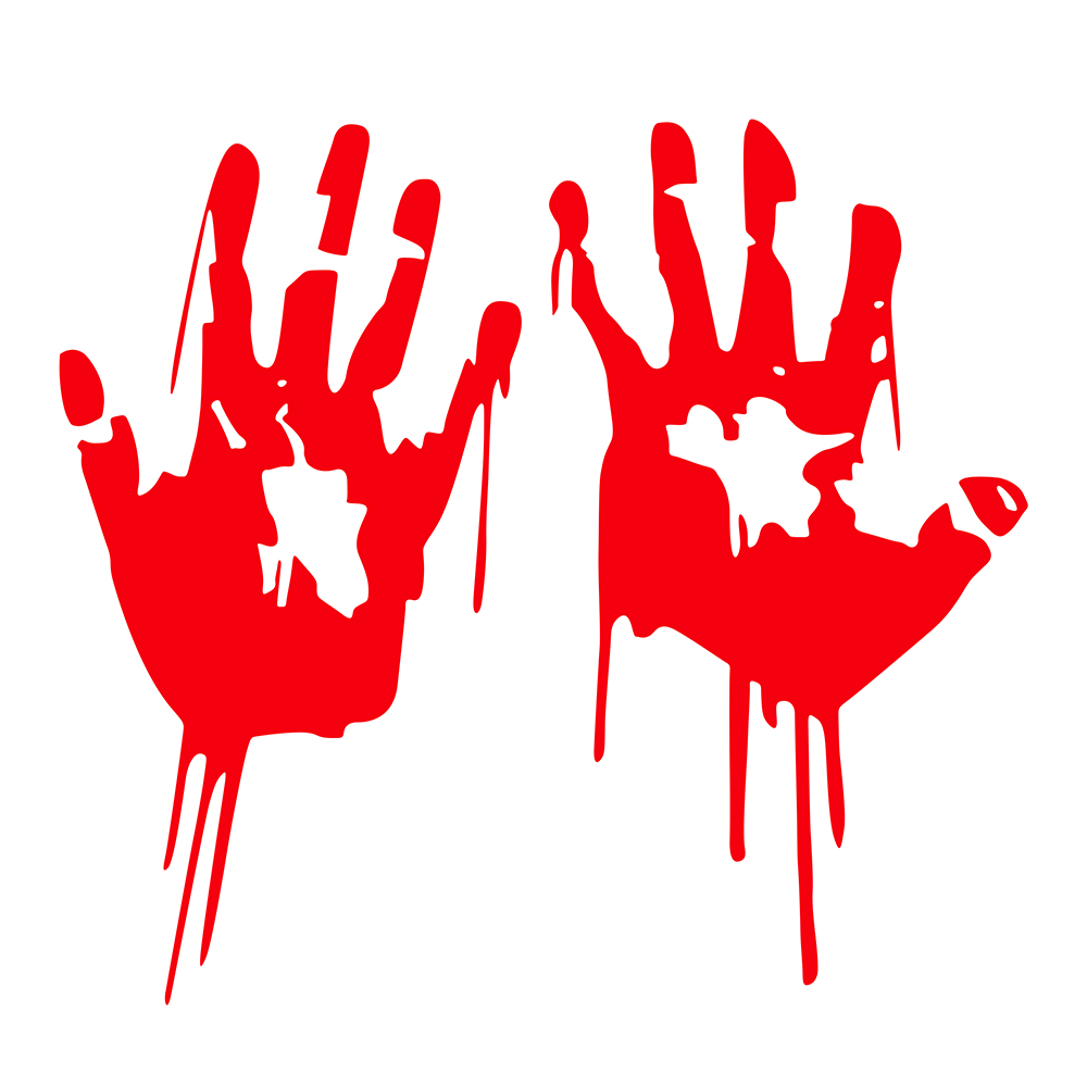 2 Pcs 3D Kartun Stiker Tangan Berdarah Tangan Merah Hitam Halloween
