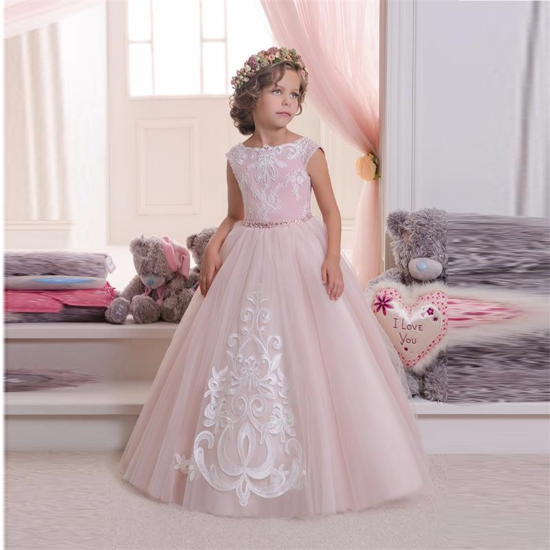 Pretty Pink Tulle White Appliques Lace Ball Gown Kids Frock Designs   Flower     Girl     Dresses   for Pageant Wedding Party
