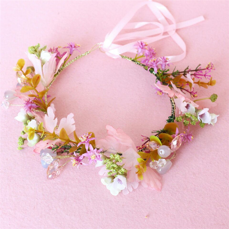 HIYONG 2019 Romantic Floral Headband Baby Wedding Flower Crown Hair Accessories Floral Headband Floral Accessories in Hair Jewelry from Jewelry Accessories