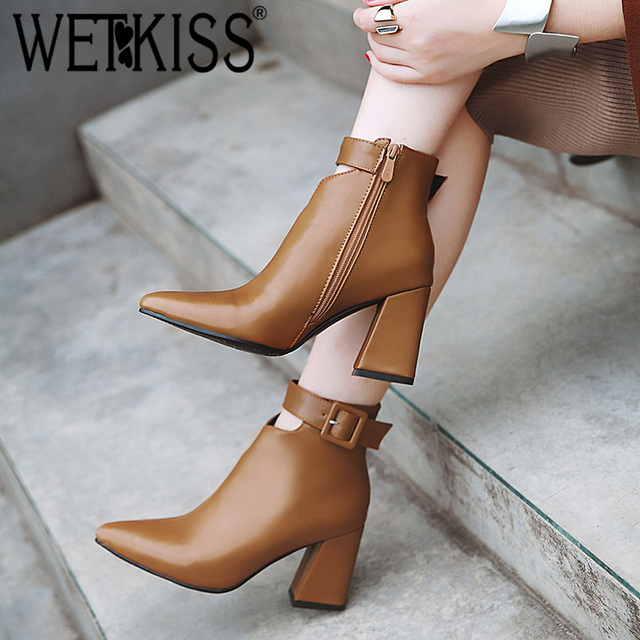 WETKISS Ankle Strap High Heels Women Boots Pointed Toe Footwear Zip Female Booties Pu Shoes Woman Autumn 2020 Plus Size 34 46
