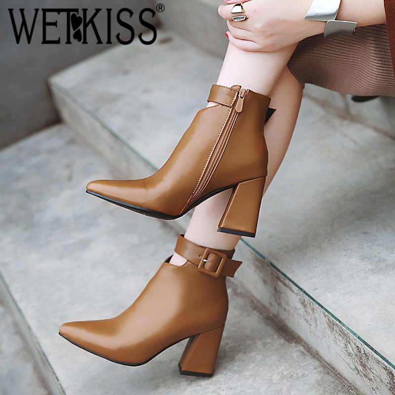 WETKISS ayak bileği kayışı yüksek topuklu Kadın Çizmeler Sivri Burun Ayakkabı Zip Kadın Patik PU ayakkabıları Kadın Kış 2020 Artı Boyutu 34-46