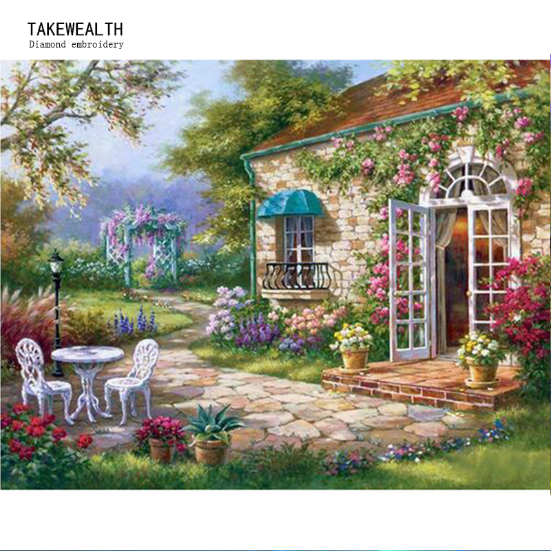 5D DIY Diamond mosaic diamond embroidery of the garden flower shop embroidered Cross Stitch Home decoration Gift B27
