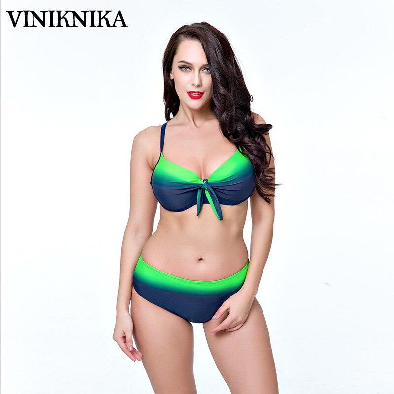VINIKNIKA di Grandi dimensioni in acciaio diviso cobi Gini sfumatura verde stampato arco petto Swim Wear Biquini plus size costumi da bagno Brasiliani Bikin