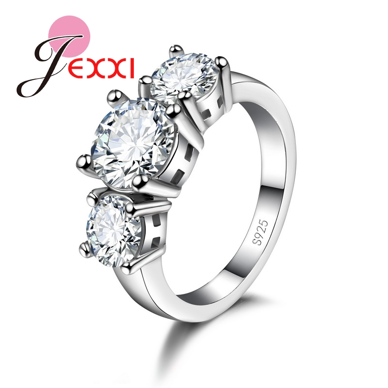 Colorful Shiny Cubic Zirconia Romantic 925 Sterling Silver Women Rings Elegant Wedding Engagement Decoration