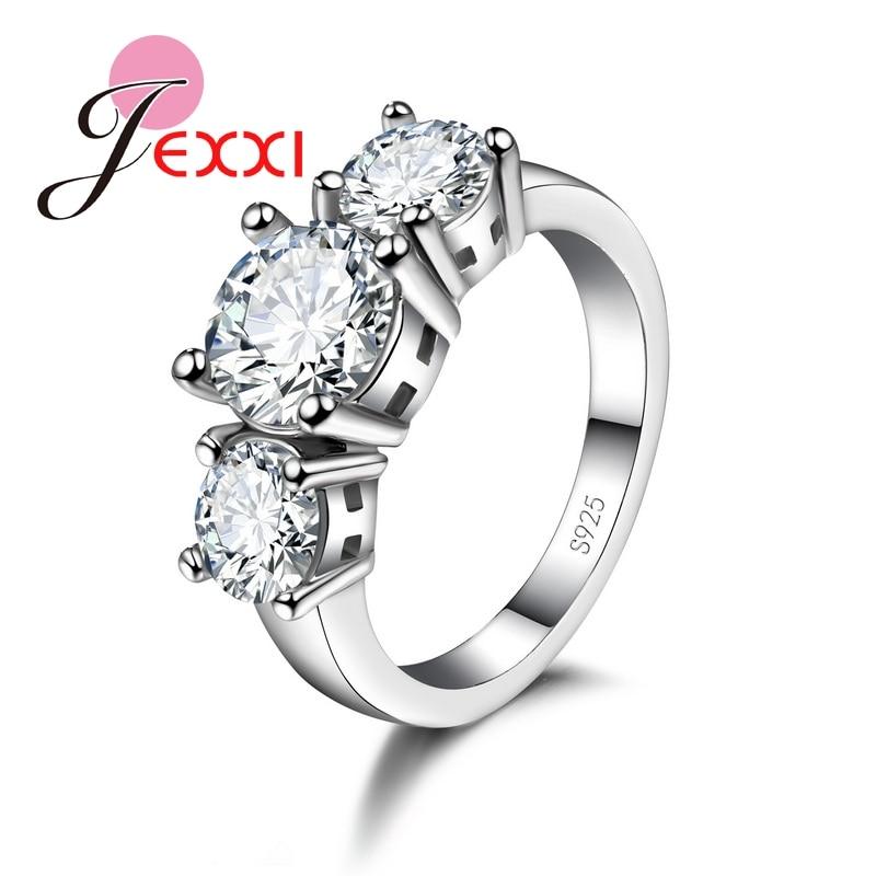 Colorful Shiny Cubic Zirconia Romantic 925 Sterling Silver Women Rings Elegant Wedding Engagement Decoration