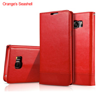 Orange S Seashell Leather Phone Case For Samsung Galaxy Note 5 With Card Holder Kickstand Wallet