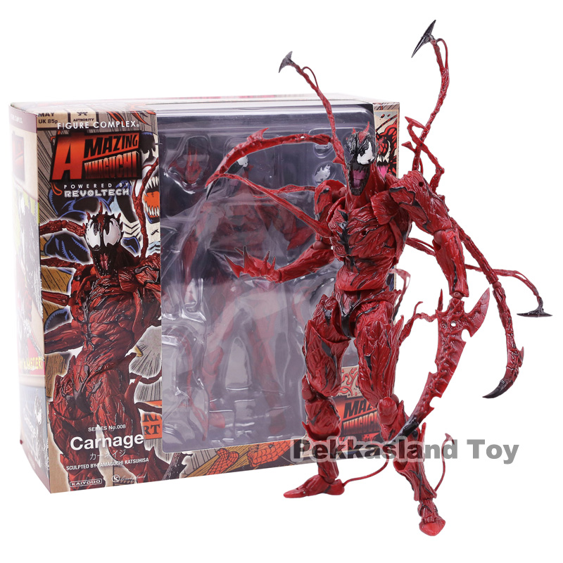 Spider Man Revoltech Series No.008 Carnage The Amazing Cletus Kasady Pvc Action Figure Collectible Model Toy Gift Toys & Hobbies