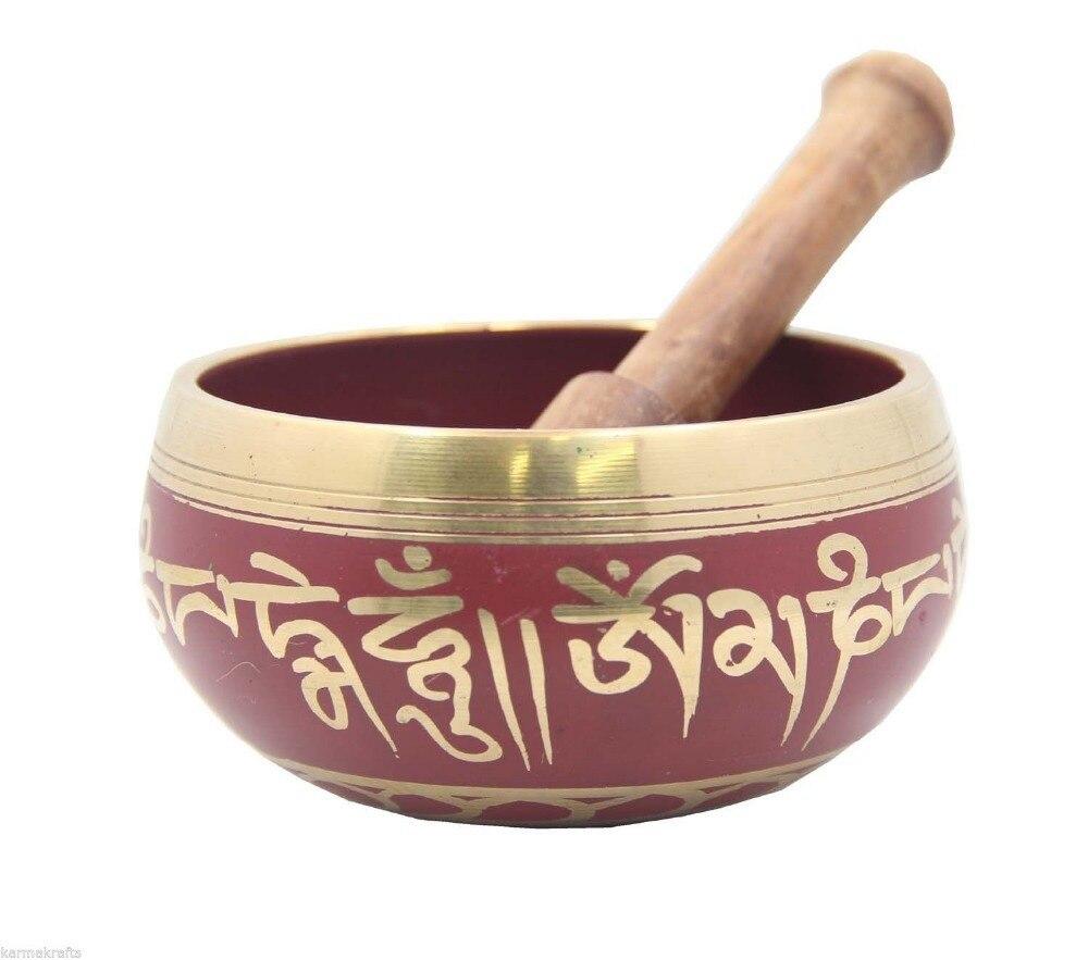 Tibétain EN LAITON Médecine Méditation OM Mani Padme Hum La Paix Bol Chantant Avec Maillet Antique Jardin Décoration Argent En Laiton