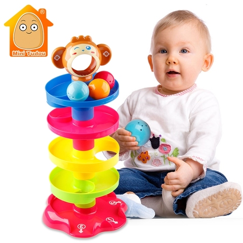 Kids Rolling Ball Drop Toy for Babies Toddlers 5 Layer Tower Run with Swirling Ramps & 3 Balls Educational Development Toys Pakistan